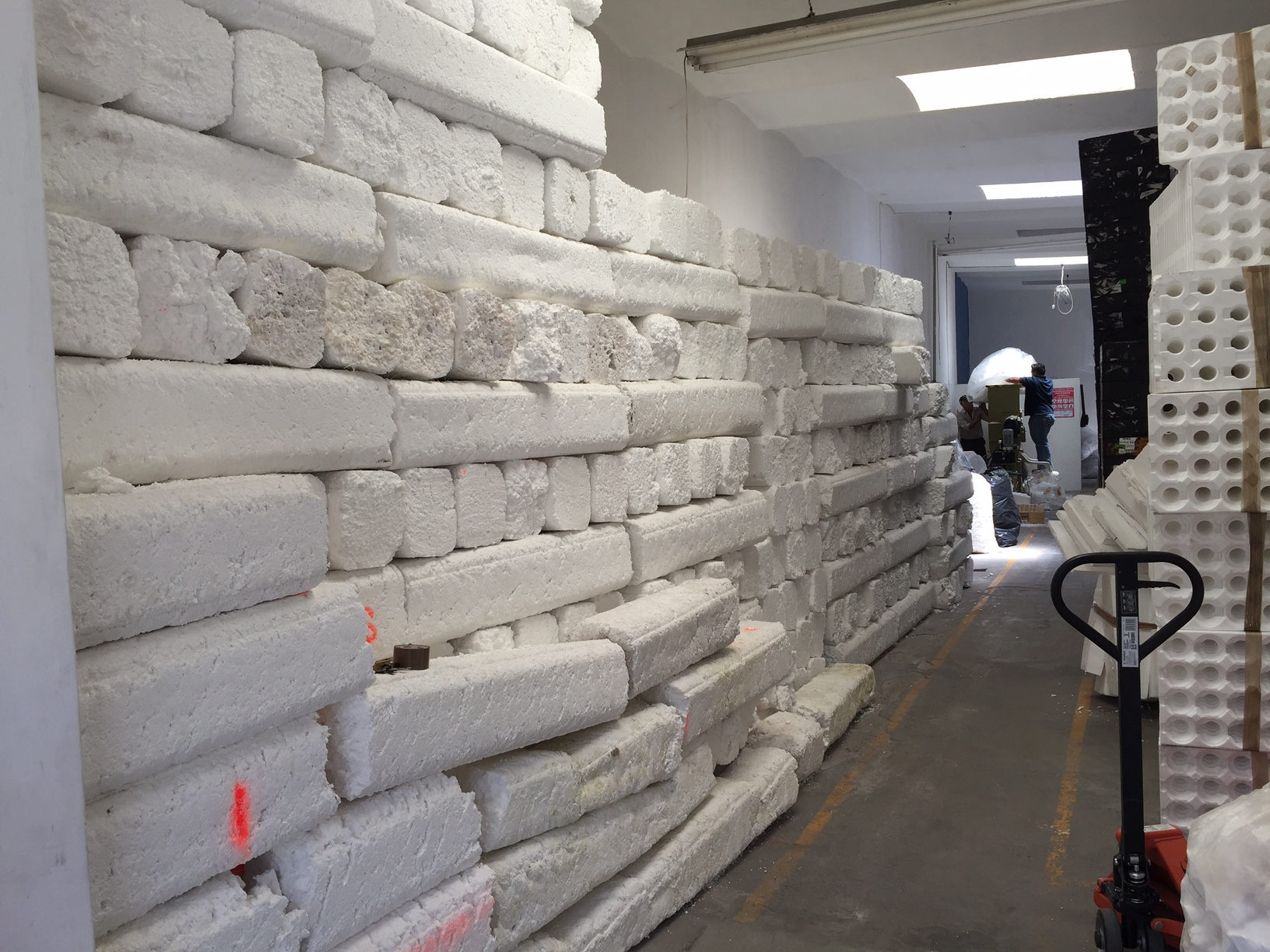 Waste styrofoam densifiers for Styrofoam block walls